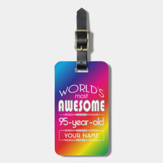95th Birthday Worlds Best Fabulous Rainbow Bag Tags