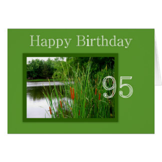 95th Happy Birthday Cat Tails on Pond Greeting Card