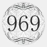 969 Area Code Round Stickers