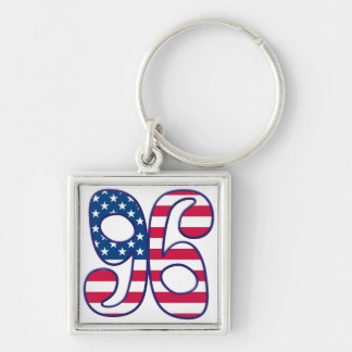 96 Age USA Silver-Colored Square Keychain
