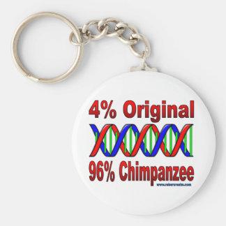 96% chimp basic round button keychain