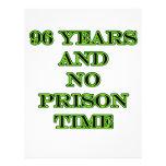 96 ninguna hora de prisión membretes personalizados