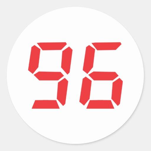 96 noventa y seis números digitales del pegatina redonda