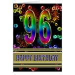 96.o Cumpleaños con las burbujas y los fuegos Tarjeton