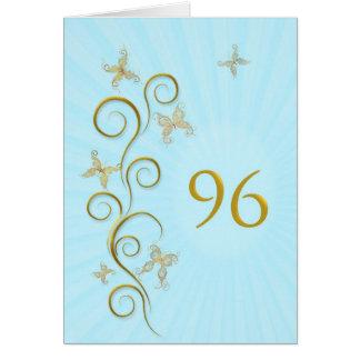 96.o Cumpleaños con las mariposas de oro Tarjeta De Felicitación