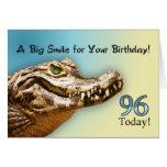 96.o Tarjeta de cumpleaños con un cocodrilo sonrie