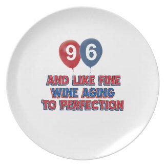 96.os diseños años del cumpleaños platos de comidas