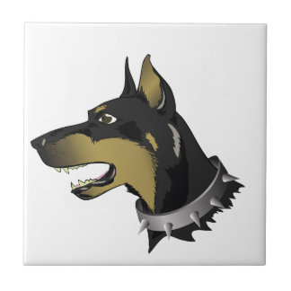 96Angry Dog _rasterized Ceramic Tile