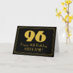 "[ Thumbnail: 96th Birthday: Art Deco Inspired Look ""96"" & Name Card ]"