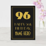 "[ Thumbnail: 96th Birthday – Art Deco Inspired Look ""96"" & Name Card ]"