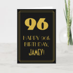"[ Thumbnail: 96th Birthday ~ Art Deco Inspired Look ""96"" & Name Card ]"