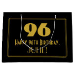 "[ Thumbnail: 96th Birthday — Art Deco Inspired Look ""96"" & Name Gift Bag ]"