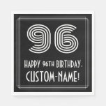 "[ Thumbnail: 96th Birthday: Art Deco Inspired Look ""96"" + Name Napkins ]"