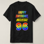 [ Thumbnail: 96th Birthday — Bold, Fun, Rainbow 96, Custom Name T-Shirt ]