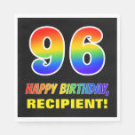 [ Thumbnail: 96th Birthday: Bold, Fun, Simple, Rainbow 96 Napkins ]