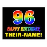 [ Thumbnail: 96th Birthday: Bold, Fun, Simple, Rainbow 96 Postcard ]