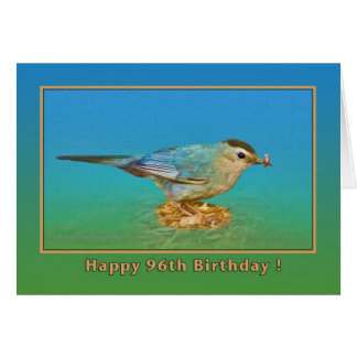 96th Birthday Card with Catbird and Worm