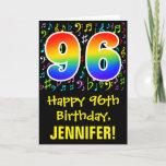 [ Thumbnail: 96th Birthday: Colorful Music Symbols + Rainbow 96 Card ]