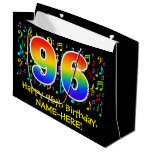 [ Thumbnail: 96th Birthday - Colorful Music Symbols, Rainbow 96 Gift Bag ]