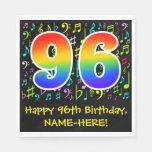 [ Thumbnail: 96th Birthday - Colorful Music Symbols, Rainbow 96 Napkins ]