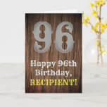 [ Thumbnail: 96th Birthday: Country Western Inspired Look, Name Card ]