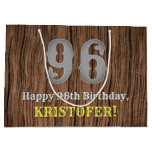 [ Thumbnail: 96th Birthday: Country Western Inspired Look, Name Gift Bag ]