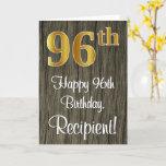[ Thumbnail: 96th Birthday: Elegant Faux Gold Look #, Faux Wood Card ]