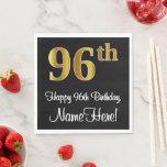 [ Thumbnail: 96th Birthday ~ Elegant Luxurious Faux Gold Look # Napkins ]