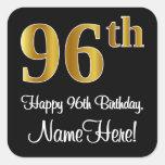 [ Thumbnail: 96th Birthday – Elegant Luxurious Faux Gold Look # Sticker ]