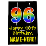 "[ Thumbnail: 96th Birthday: Fun, Bold, Colorful, Rainbow ""96"" Gift Bag ]"