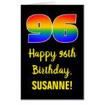 [ Thumbnail: 96th Birthday: Fun, Colorful, Happy, Rainbow # 96 Card ]