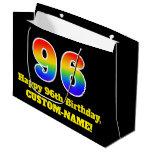 [ Thumbnail: 96th Birthday ~ Fun, Colorful, Vibrant, Rainbow 96 Gift Bag ]