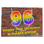 [ Thumbnail: 96th Birthday: Fun, Graffiti-Inspired Rainbow # 96 Gift Bag ]