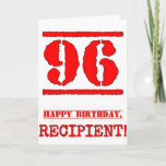 [ Thumbnail: 96th Birthday: Fun, Red Rubber Stamp Inspired Look Card ]
