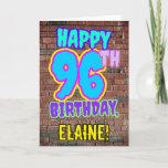 [ Thumbnail: 96th Birthday - Fun, Urban Graffiti Inspired Look Card ]