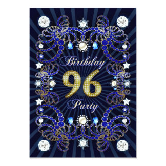 "96th birthday party invite with masses of jewels 5"" x 7"" invitation card"