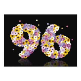 96th Birthday party, with flowered letters Card