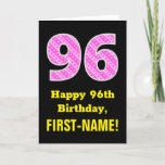 "[ Thumbnail: 96th Birthday: Pink Stripes and Hearts ""96"" + Name Card ]"