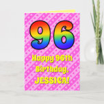 [ Thumbnail: 96th Birthday: Pink Stripes & Hearts, Rainbow # 96 Card ]