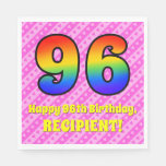 [ Thumbnail: 96th Birthday: Pink Stripes & Hearts, Rainbow # 96 Napkins ]
