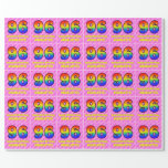 [ Thumbnail: 96th Birthday: Pink Stripes & Hearts, Rainbow # 96 Wrapping Paper ]