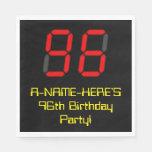 "[ Thumbnail: 96th Birthday: Red Digital Clock Style ""96"" + Name Napkins ]"