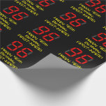 "[ Thumbnail: 96th Birthday: Red Digital Clock Style ""96"" + Name Wrapping Paper ]"