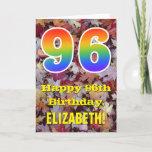 "[ Thumbnail: 96th Birthday; Rustic Autumn Leaves; Rainbow ""96"" Card ]"