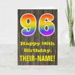 "[ Thumbnail: 96th Birthday: Rustic Faux Wood Look, Rainbow ""96"" Card ]"