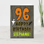 [ Thumbnail: 96th Birthday: Spooky Halloween Theme, Custom Name Card ]