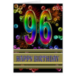 96th Birthday with rainbow bubbles and fireworks Greeting Cards
