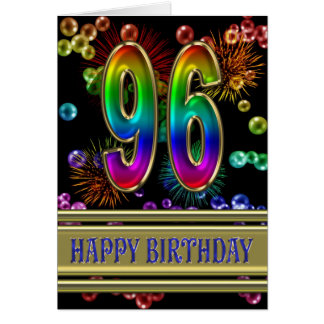 96th Birthday with rainbow bubbles and fireworks Greeting Card