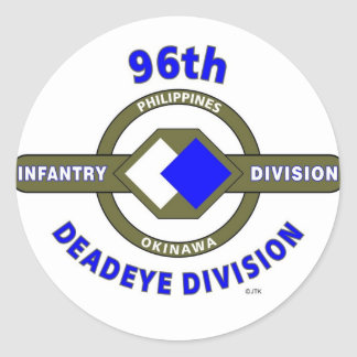 """96TH INFANTRY DIVISION """"DEADEYE"""" DIVISION CLASSIC ROUND STICKER"""