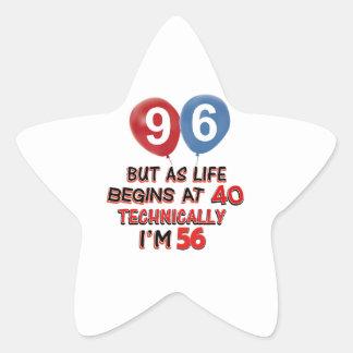 96th year birthday designs star sticker